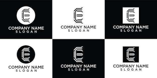 Creatieve lettermark monogram letter e logo sjabloon