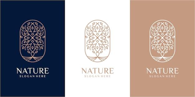Creatieve lijn boom logo ontwerpsjabloon. natuur logo ontwerp. blad logo ontwerp. boom logo ontwerp