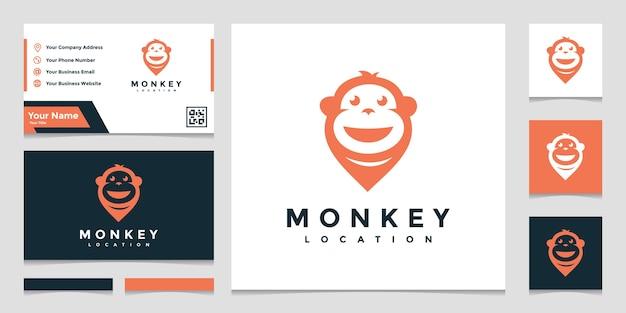 Creatieve logo aap locatie met een visitekaartje