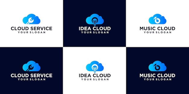 Creatieve logo set abstracte technologie cloud