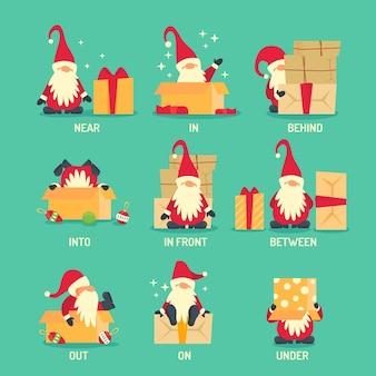 Creatieve manier om engels voorzetsel met de kerstman te laten zien