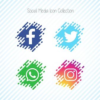 Creatieve memphis social media icon set