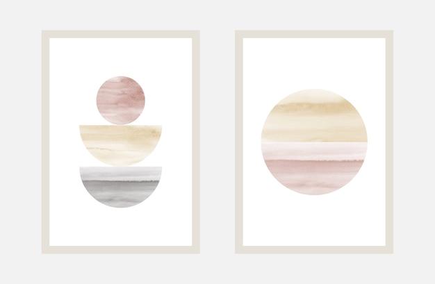 Creatieve minimal art met aquarel handgeschilderd voor wall art collection.
