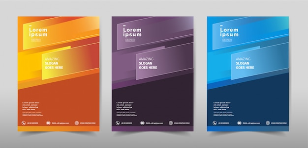 Creatieve minimale achtergrond cover design kleurrijke set.