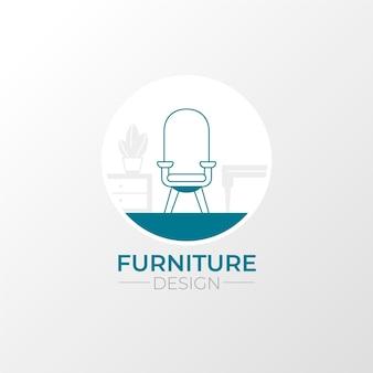 Creatieve minimalistische meubels logo sjabloon
