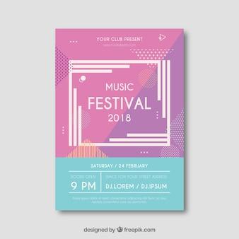 Creatieve moderne muziekfestivalvlieger