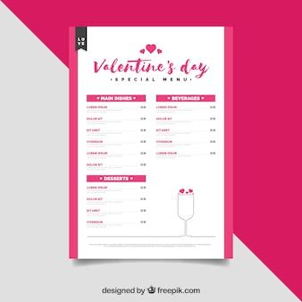 Creatieve moderne valentijnskaart menu concept