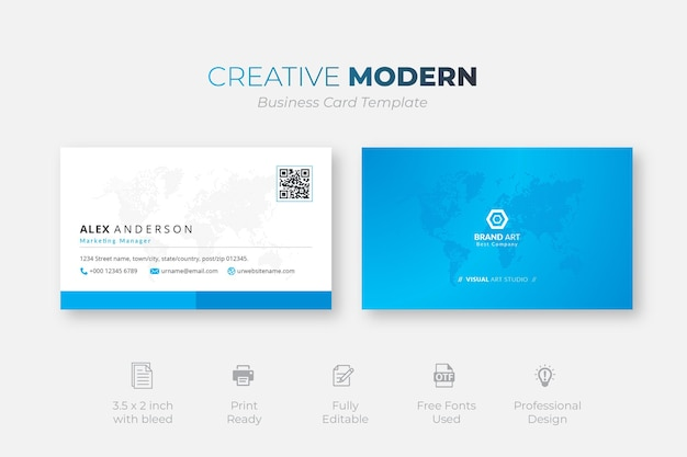 Creatieve moderne visitekaartjesjabloon met blauwe details