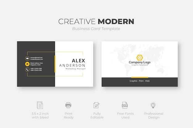 Creatieve moderne visitekaartjesjabloon met zwarte en gele details