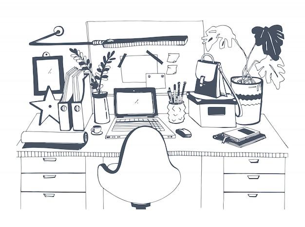 Creatieve moderne werkplek met laptop, hand getrokken illustratie, schets stijl.