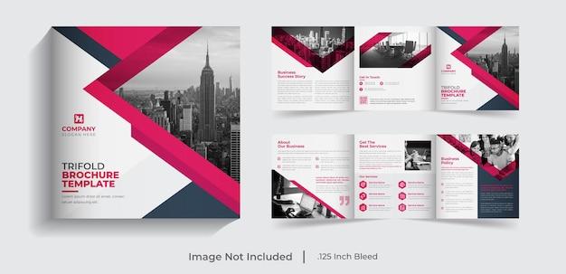 Creatieve moderne zakelijke vierkante driebladige zakelijke brochure sjabloonontwerp