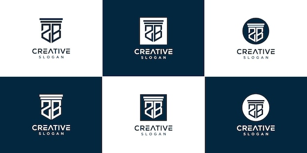 Creatieve monogram 2b logo set