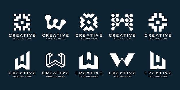 Creatieve monogram initialen w logo sjabloon. Premium Vector
