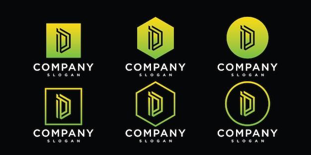 Creatieve monogram letter d logo abstracte ontwerpinspiratie