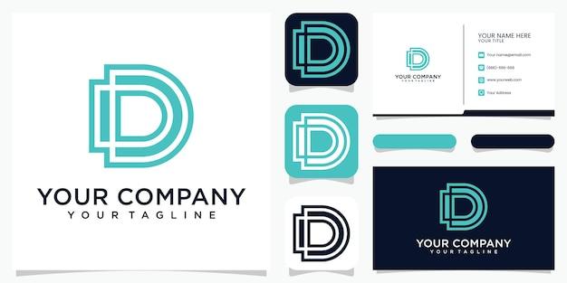 Creatieve monogram logo letter d met stijl lijntekeningen logo-ontwerp en visitekaartje