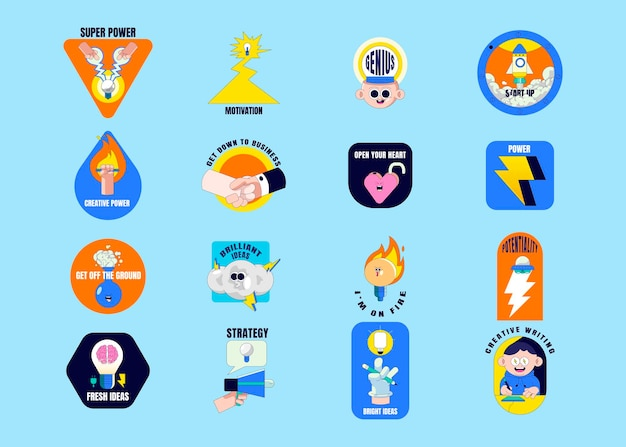 Creatieve motiverende badge collectie vector