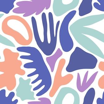 Creatieve naadloze patroon met natuurlijke vormen of tekens en jungle bladeren op witte achtergrond. moderne kleurrijke vectorillustratie in vlakke stijl voor inpakpapier, behang, achtergrond, textieldruk.
