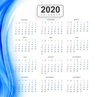 Creatieve nieuwe jaar kleurrijke kalender 2020 achtergrond