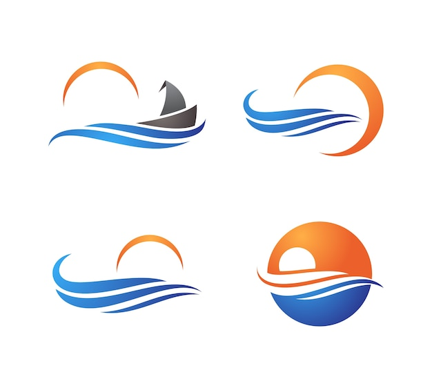 Creatieve ocean wave logo symbolenset