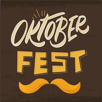 Creatieve oktoberfest evenement belettering met snor illustratie