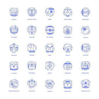 Creatieve ontwerpen lijn icons set
