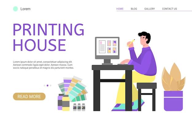 Creatieve ontwerper die in drukkerij werkt