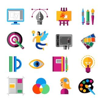 Creatieve ontwerper icons set