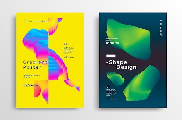Creatieve ontwerpposter met levendige gradiëntvormen minimale achtergronden voor flyeromslag