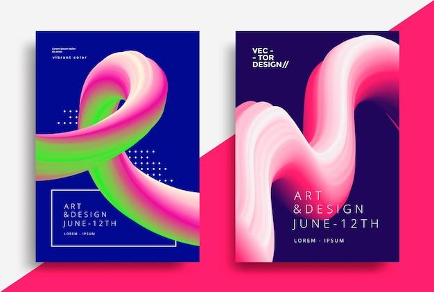 Creatieve ontwerpposters met stroomkunstvormen vloeibare golfachtergronden voor flyer-omslagbrochure