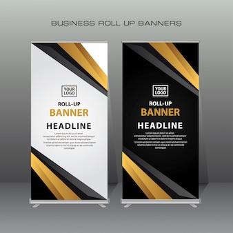 Creatieve oprollen ontwerpsjabloon banner in goud en zwarte kleur