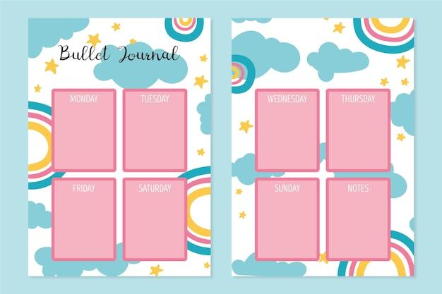 Creatieve opsommingsteken dagboek planner sjabloon