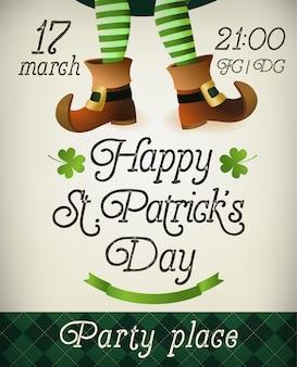 Creatieve pamflet, banner of flyer ontwerp met illustratie van leprechaun benen voor st. patrick s day party