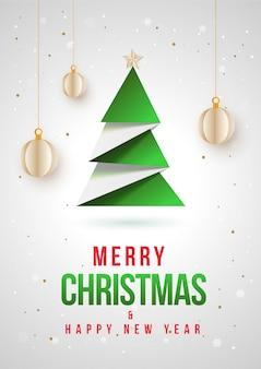 Creatieve papier kerstboom met ster en hangende kerstballen op wit voor prettige kerstdagen en gelukkig nieuwjaar viering.