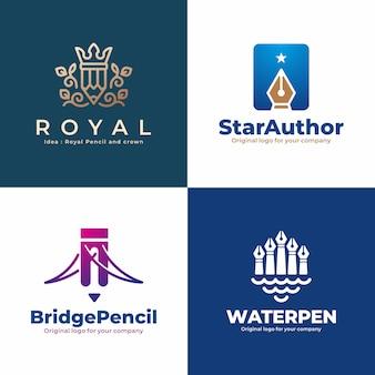Creatieve pen, potlood, schrijver, auteur logo-collectie.
