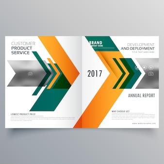 Creatieve pijlstijl business bifold brochure ontwerp sjabloon
