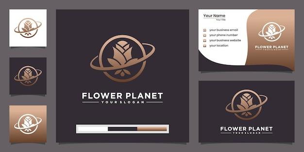 Creatieve planeet roos logo concept en visitekaartje ontwerp