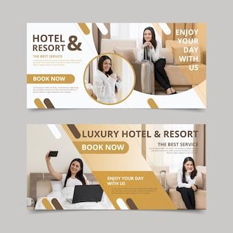 Creatieve platte hotel sjabloon voor spandoek met foto