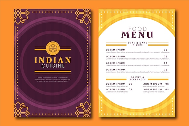 Creatieve platte indiase menusjabloon
