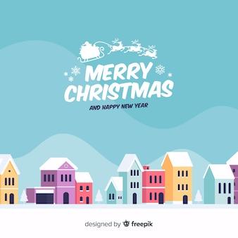 Creatieve platte kerststad achtergrond