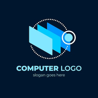 Creatieve platte laptop logo-ontwerpsjabloon