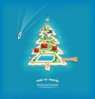 Creatieve poster met eiland in de vorm van een kerstboom.