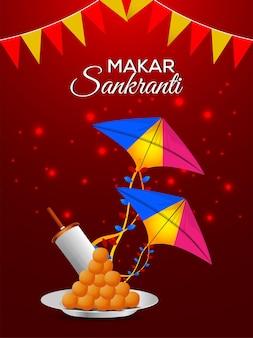 Creatieve poster van makar sankranti met kleurrijke vliegers en een draadspoel