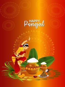Creatieve poster voor vrolijke pongal-begroeting