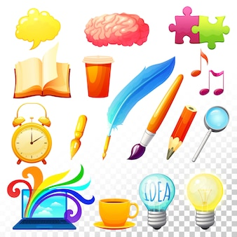 Creatieve proces pictogrammen instellen