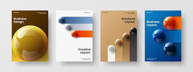 Creatieve realistische bollen pamflet illustratie bundel