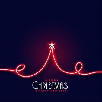 Creatieve rode neon kerstboom achtergrond