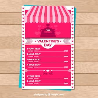 Creatieve roze valentijn menusjabloon