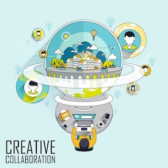 Creatieve samenwerking via internetconcept in lijnstijl