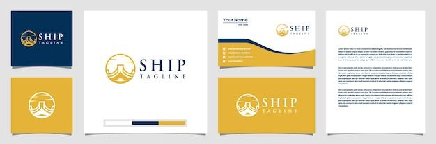 Creatieve scheepslogo-inspiratie met lijntekeningen stijl logo visitekaartje en briefpapier