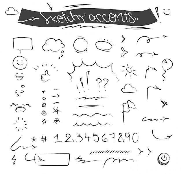 Creatieve schetsmatige accenten en symbolen ingesteld